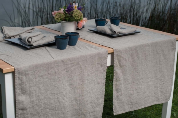 Washed linen table runner in flax colour 1