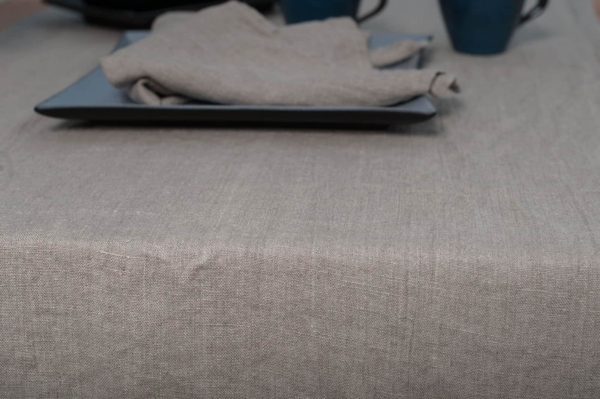 Washed linen table runner in flax colour 2