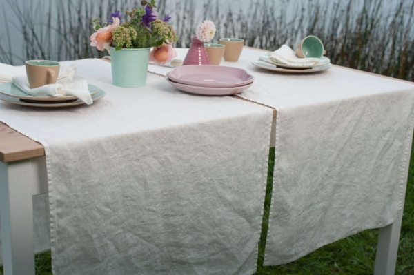 Off-white washed linen table runner 1
