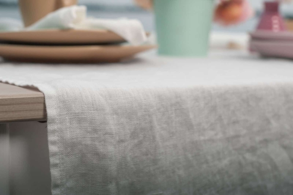 Off-white washed linen table runner 2