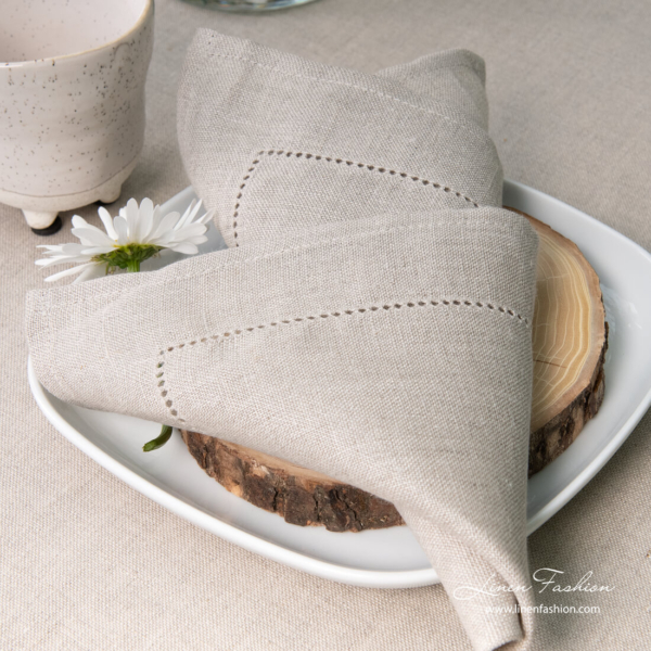 Grey linen napkin with hemstitch