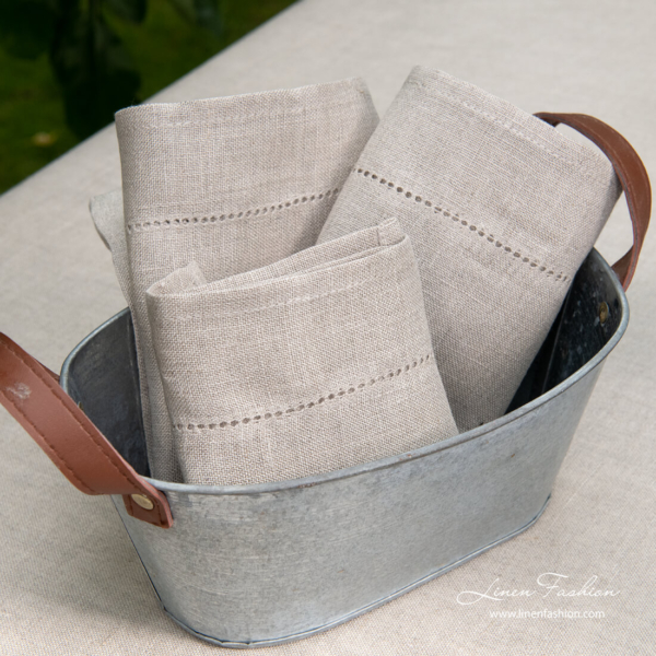 Bunch of natural pure linen hemstitched napkins