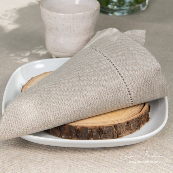 Natural flax linen napkin decorated with hemstitch