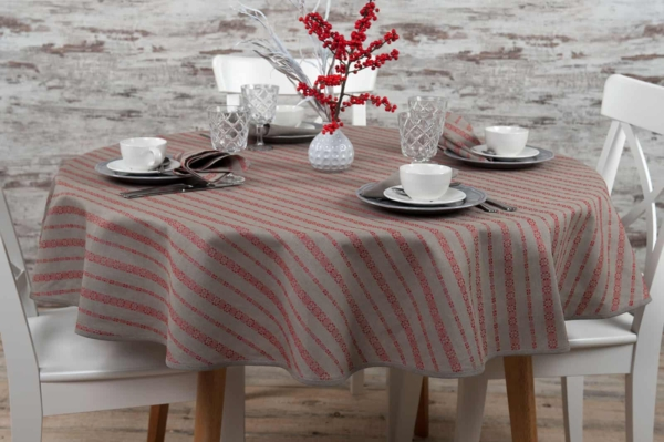 ORNA round (oval) red tablecloth 1