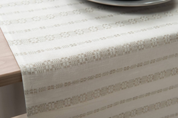 Linen white table runner with grey ornaments 2