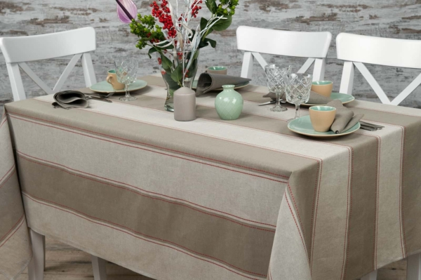 Linen tablecloth with grey stripes 1