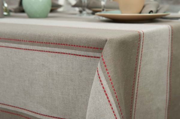Linen tablecloth with grey stripes 2