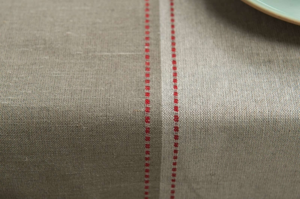 Linen tablecloth with grey stripes 3