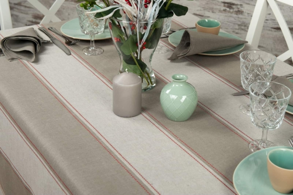 Linen tablecloth with grey stripes 4