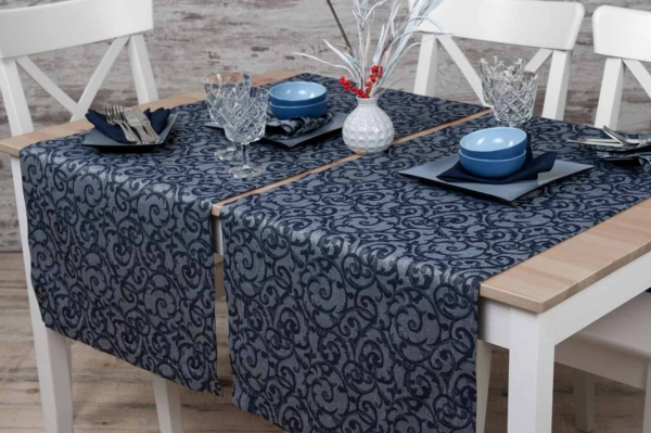 Linen grey blue patterned table runner 1