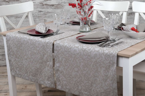 Linen grey patterned table runne 1