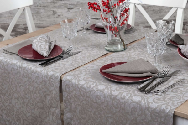Linen grey patterned table runne 3