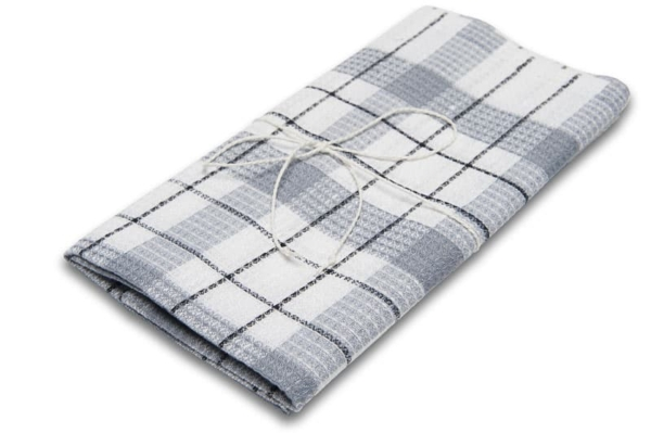 "White and grey checked linen kitchen towel ""Tallinn"" 1"