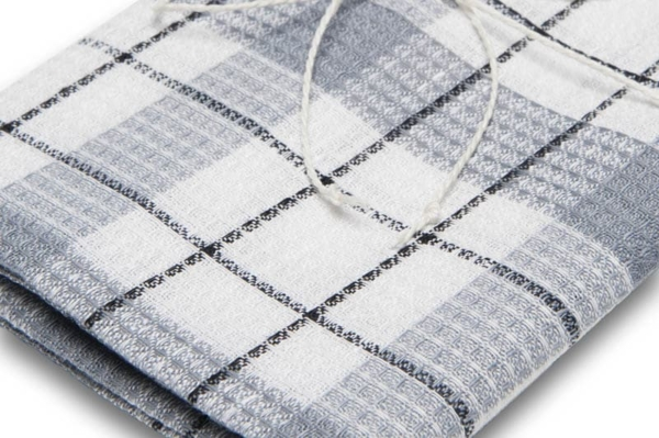 "White and grey checked linen kitchen towel ""Tallinn"" 2"