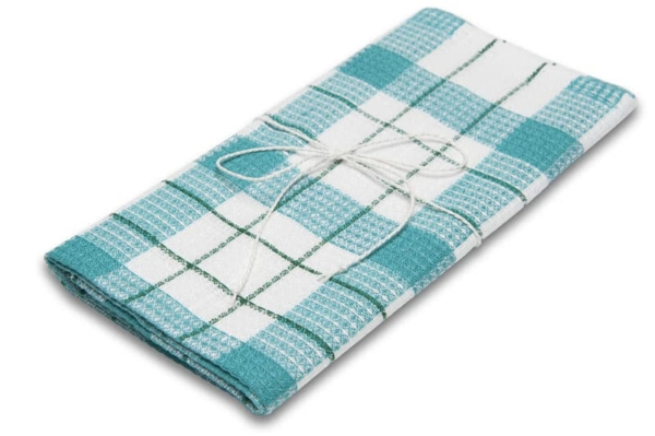 """Green and white checked linen kitchen towel """"Riga"""" 1"""