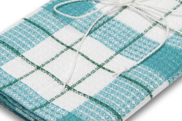 """Green and white checked linen kitchen towel """"Riga"""" 2"""