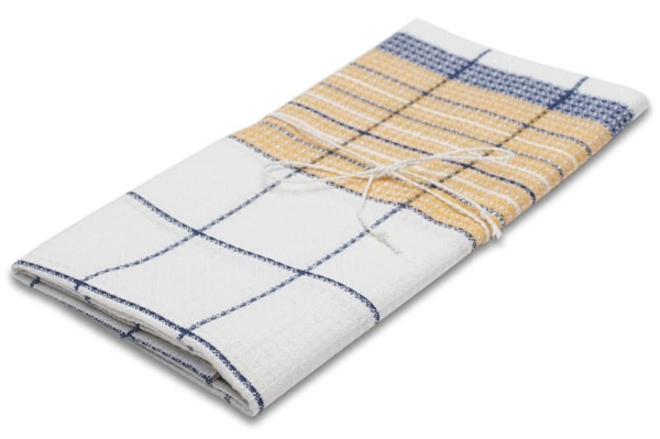 """White, yellow and blue checked linen kitchen towel """"Mexico"""" 1"""
