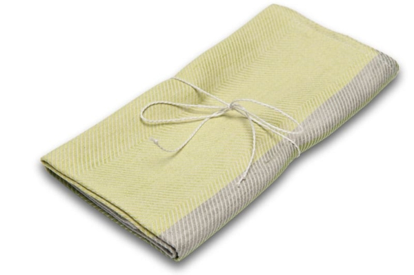 "Green and grey linen kitchen towel ""Lima"" 1"
