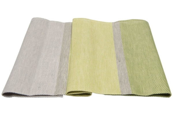"Green and grey linen kitchen towel ""Lima"" 2"