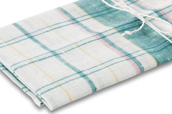 "White checked linen kitchen towel ""New York"" 2"
