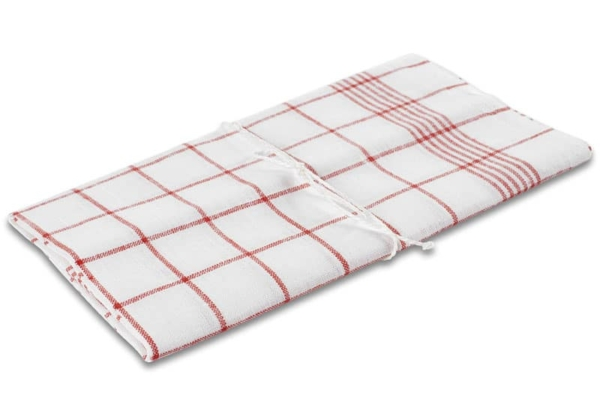 """White checked linen kitchen towel """"Brussels"""" 1"""