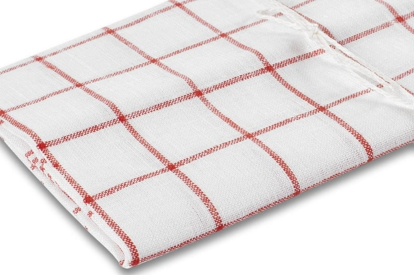 """White checked linen kitchen towel """"Brussels"""" 2"""