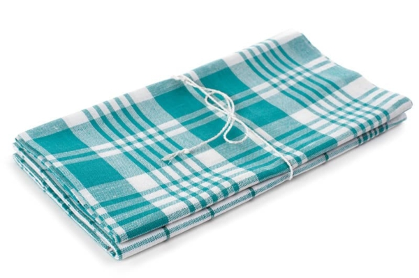 "Set of two white and green linen kitchen towels ""Budapest"" 1"