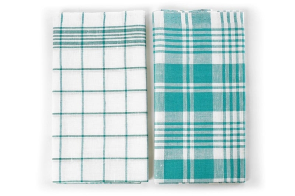 "Set of two white and green linen kitchen towels ""Budapest"" 2"