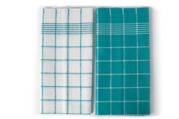 "Set of two checked linen kitchen towels ""Toronto"" 2"