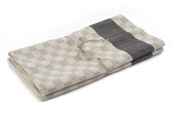 "Set of two grey linen kitchen towels ""Milan"" 1"