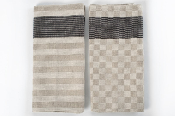 "Set of two grey linen kitchen towels ""Milan"" 2"