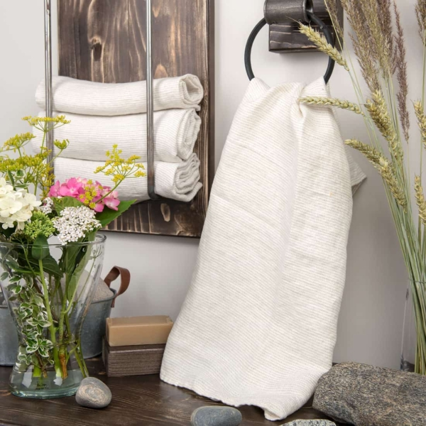White linen towel with grey stripes 1