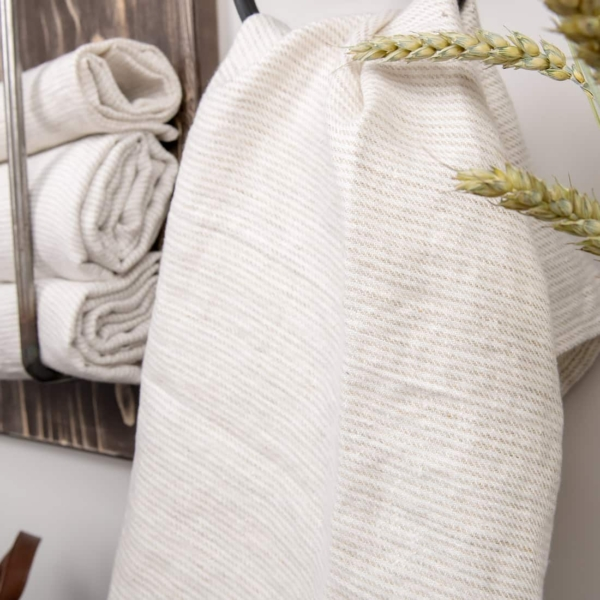 White linen towel with grey stripes 2