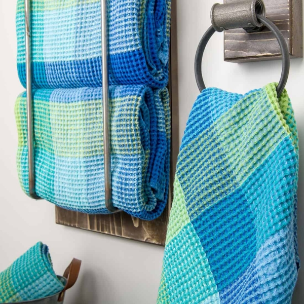 """Blue checked linen """"waffle"""" towel 2"""