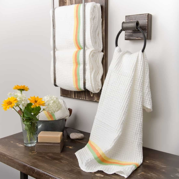 White linen towel with colourful stripes 1