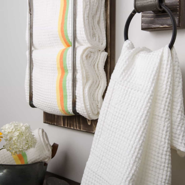 White linen towel with colourful stripes 2
