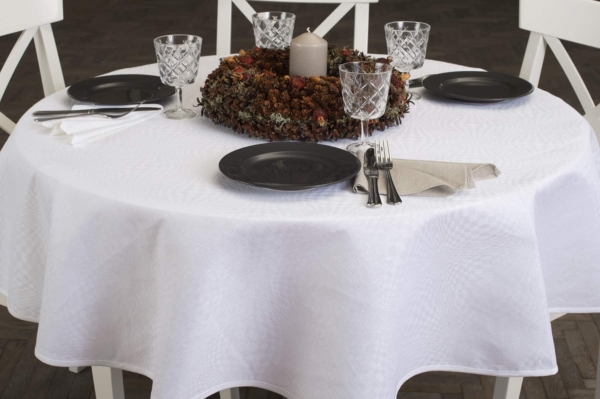 COSMOS round (oval) optical white tablecloth 1