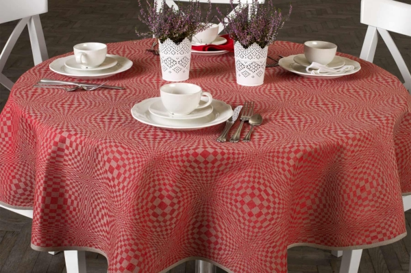 COSMOS round (oval) red tablecloth 1
