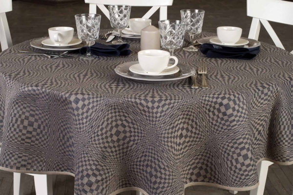 COSMOS round (oval) blue tablecloth 1