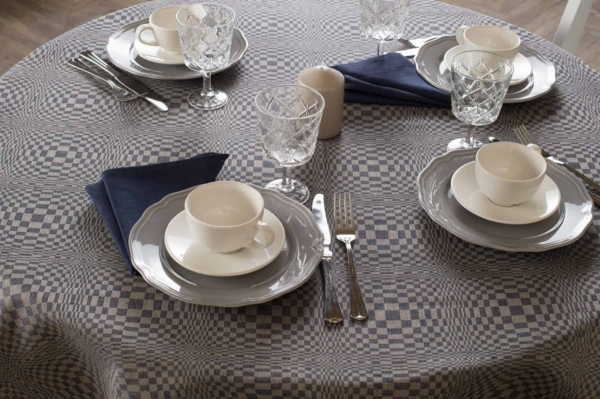 COSMOS round (oval) blue tablecloth 2