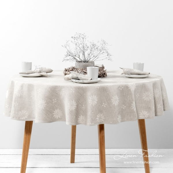 MYSTI round (oval) grey tablecloth 1