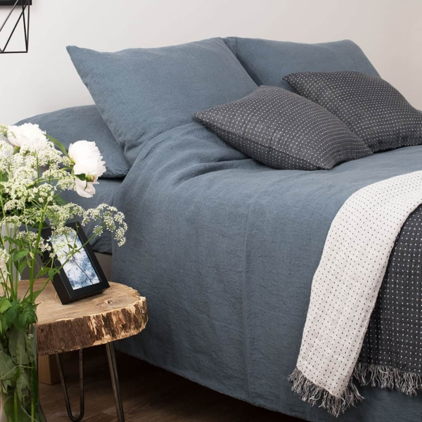 "Bluish Grey Washed Bed Linen Duvet Cover ""Graffiti"" 1"