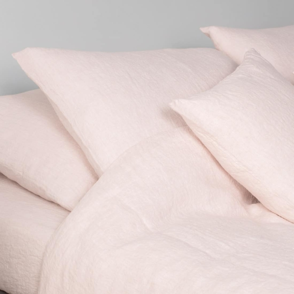 """Soft Pink Washed Linen Fitted Sheet """"Amelia"""" 1"""