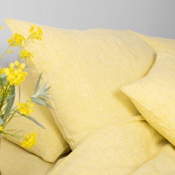 "Yellow Washed Bed Linen Fitted Sheet ""Citrus"" 1"