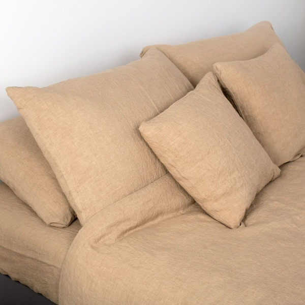 "Light Brown Linen Fitted Sheet ""Mocha"" 1"