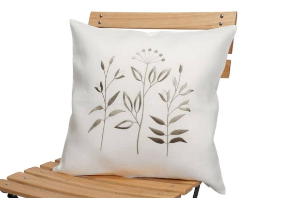 White linen embroidered cushion cover 1