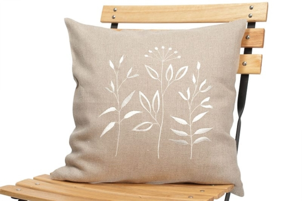 Grey embroidered linen cushion cover 1