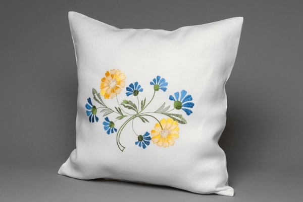 White floral embroidered linen cushion cover 1