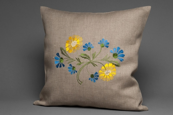 Grey floral embroidered linen cushion cover 1