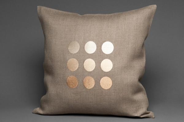 Grey linen cushion cover with beige bubbles 1